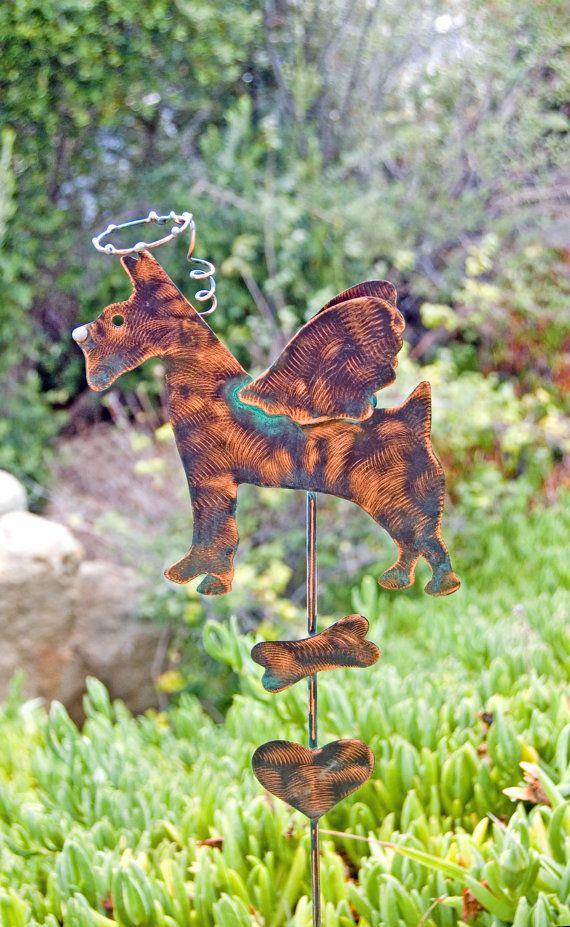 Amazing Schnauzer Angel Dog Garden Stake / Pet Memorial / Copper Garden Art / Metal  Yard Art
