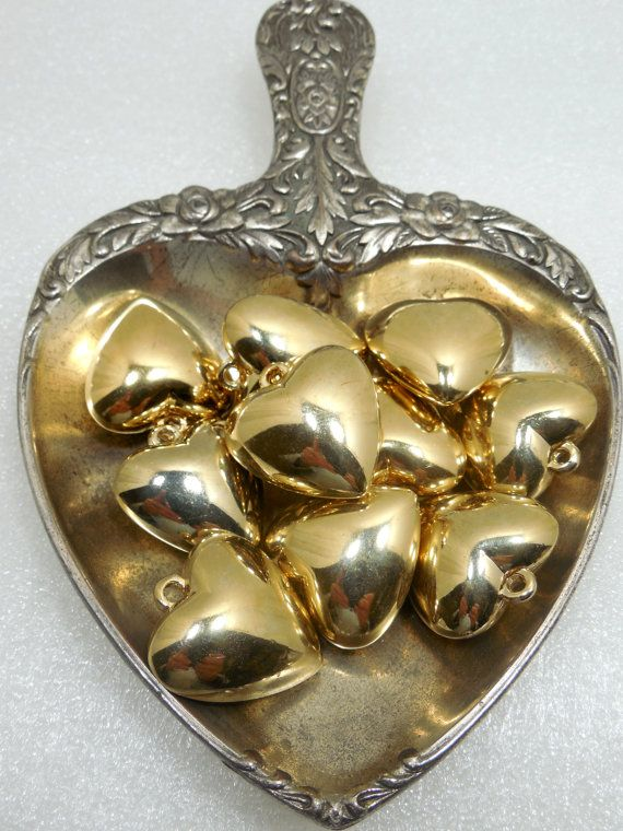 Gold Plated Puff Hearts Lot of 10 Hearts Valentine by Beadgarden55, $8.00