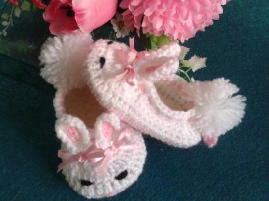 Zapatos bebé crochet, con forma de conejito!!   crochet bebe ...