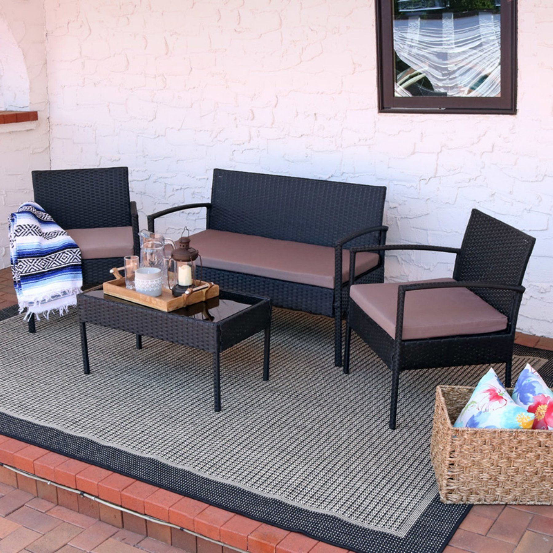 Outdoor Sunnydaze Decor Anadia Rattan Wicker 4 Piece Patio
