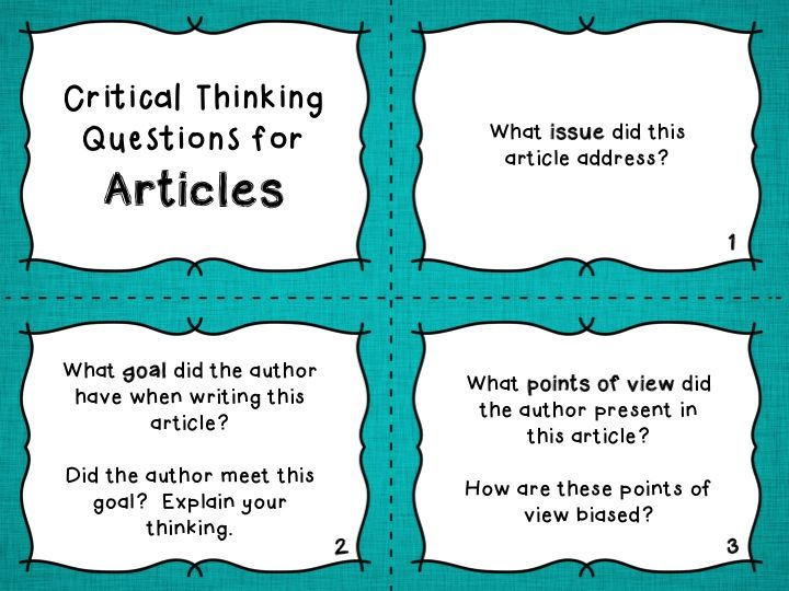 Free Download: Critical Thinking Questions for Reading ...