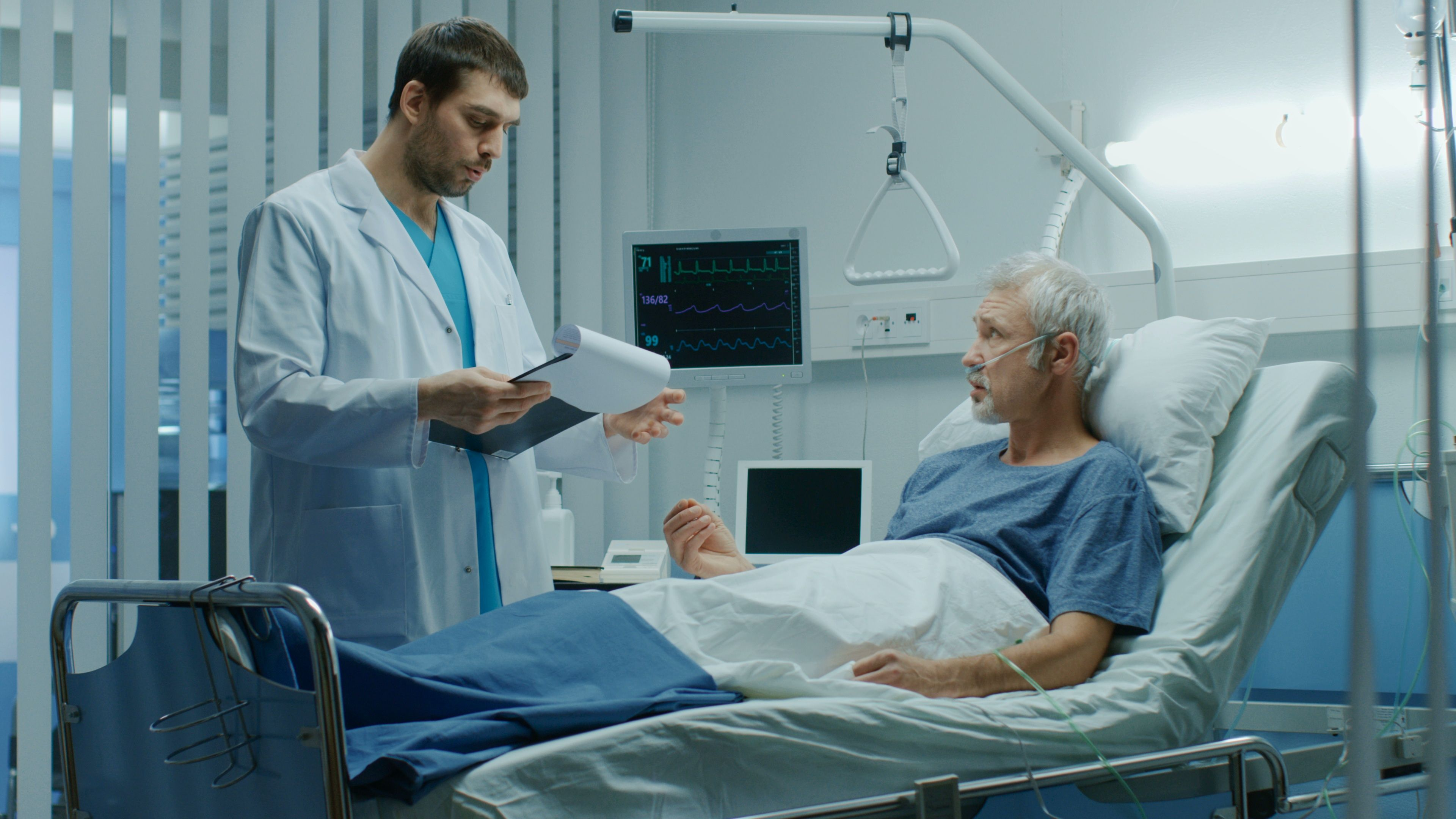 In the Hospital, Recovering Senior Patient Lying in Bed