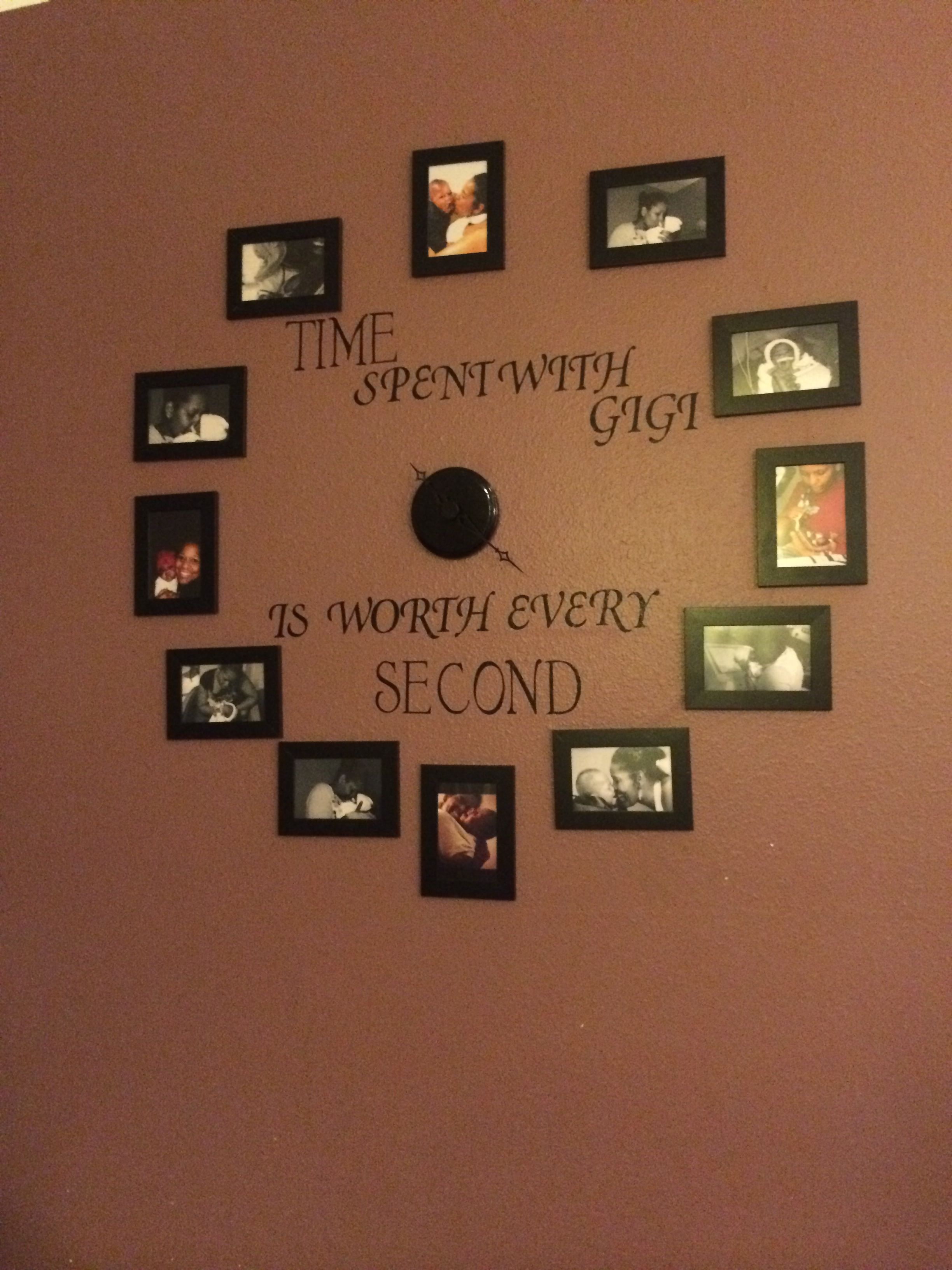 Picture wall clock :) frames from ikea, made the letters out of ...