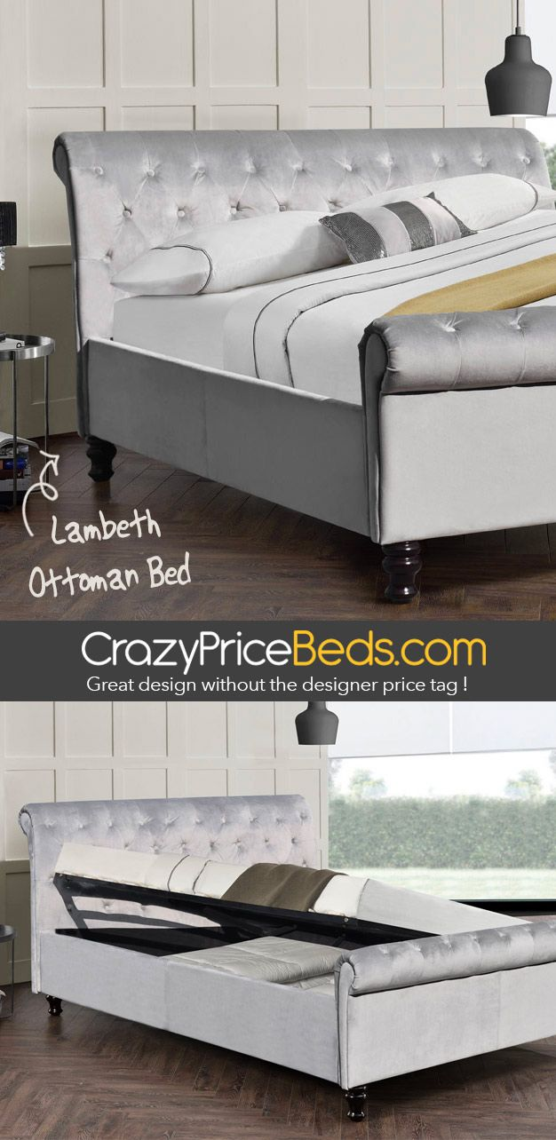 Lambeth Grey Velvet Lift Up Ottoman Storage Sleigh Bed