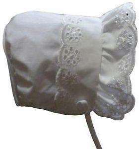 NIce Caps Baby Girl Fancy Double Brimmed Eyelet Bonnet