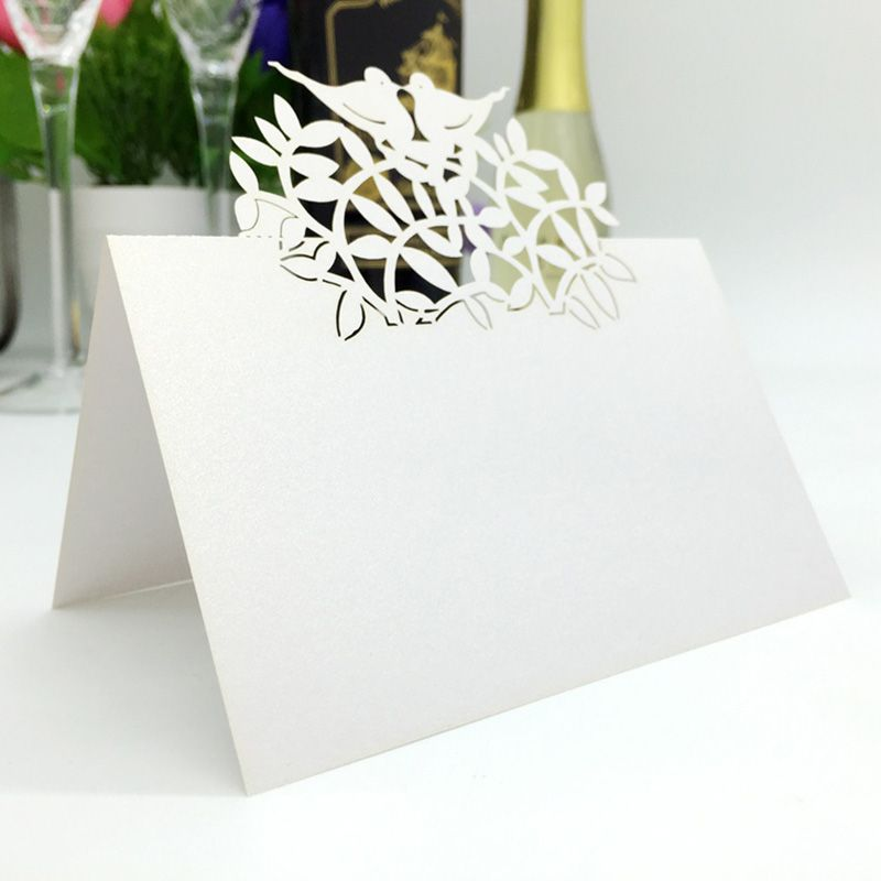 Pcs White Birds Laser Cut Paper Place Cards Guest Table Mark