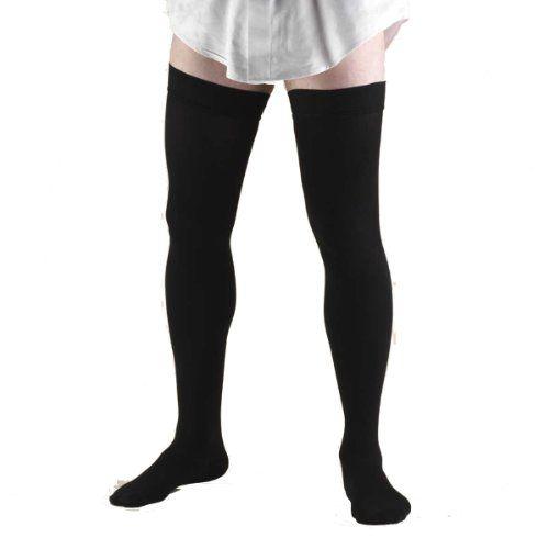 X-Large Black Truform Compression Socks 20-30 mmHg Thigh High Dress Style