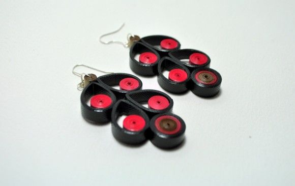 Quilled Paper Earrings | Cherries- by: Anama Lily