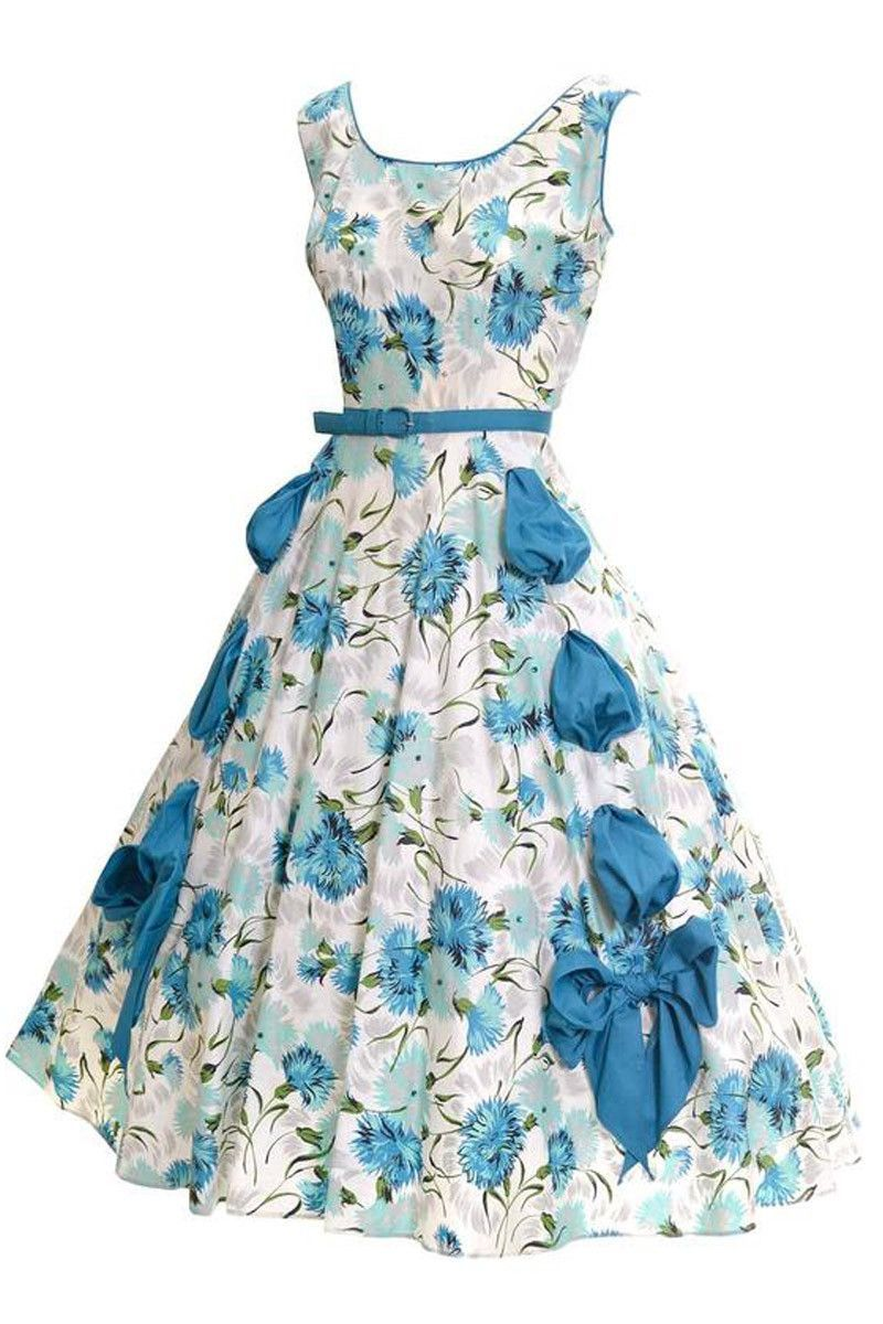 1950s Blue Floral Dress with a Full Skirt Rhinestones Bows Size 6/8 ...