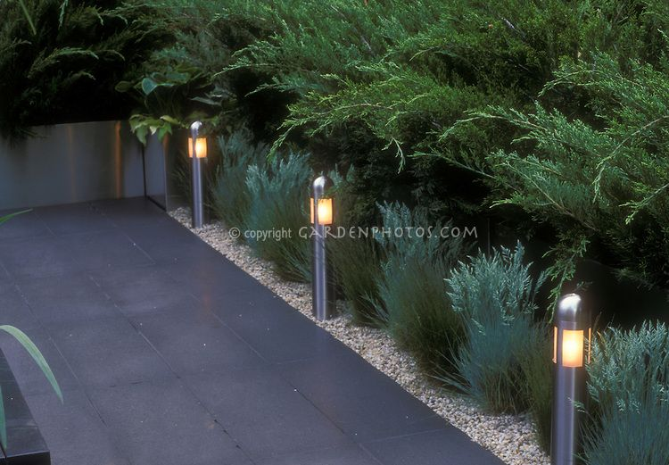 Amazing Built In Step Lights And Short Pole Lighting To Illuminate Garden Path In  Evening