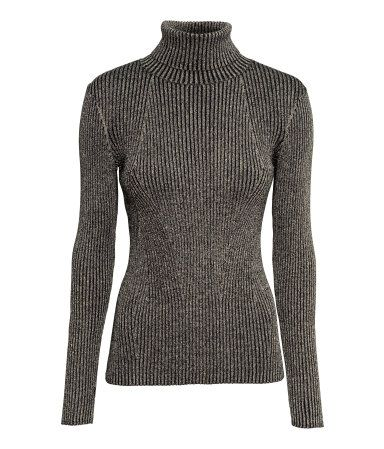 Fitted, long-sleeved turtleneck sweater in a cotton-blend rib knit ...