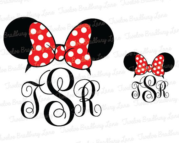Disney Iron On Transfer, Custom Monogram, Disney Minnie Ears, Digital, Disney Monogram, Fancy, Personalize, Make shirts, stickers, magnets