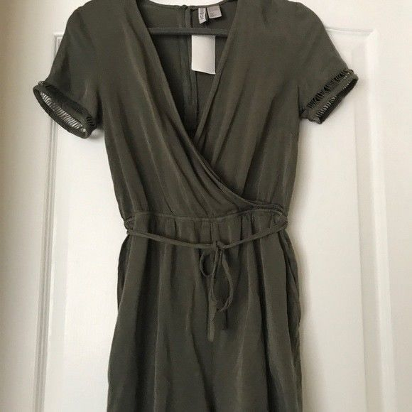 cec4cccadee Olive Green H M Romper Size 4 V-neck Tie front Sleeve Detailing Jumpsuit   fashion