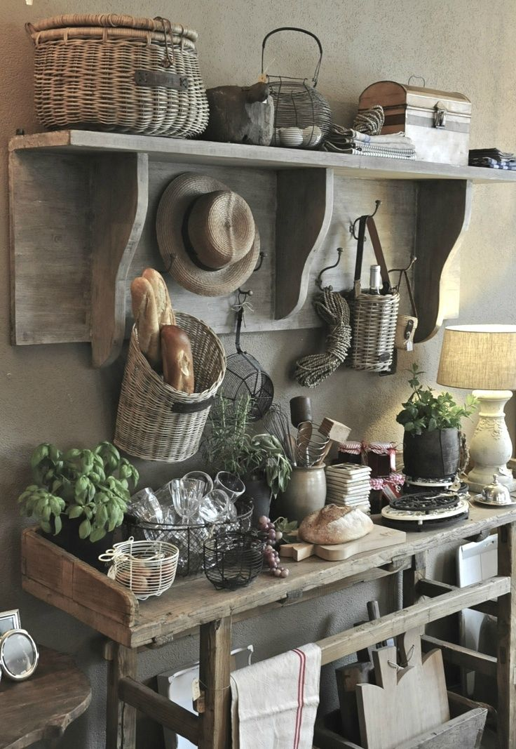 Old Farmhouse Kitchen Country Shelves Rustic Kitchens Decor