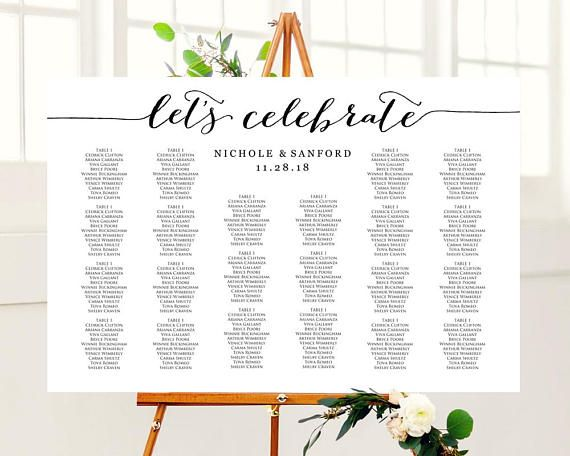 Let\u0027s Celebrate Wedding Seating Chart Template Instantly download