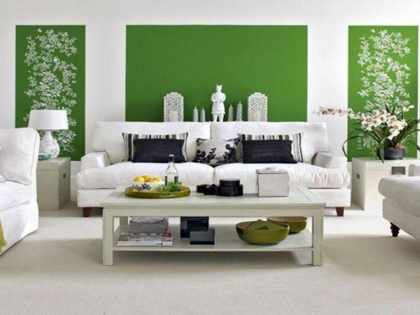 wandfarbe farbkombination grün farbideen wandgestaltung muster weiß - wandfarben fr esszimmer
