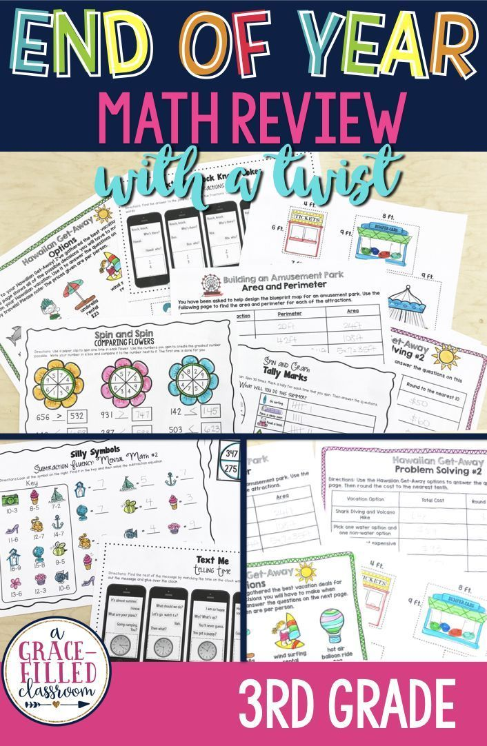 End Of Year Math Review With A Twist 3rd Grade End Of