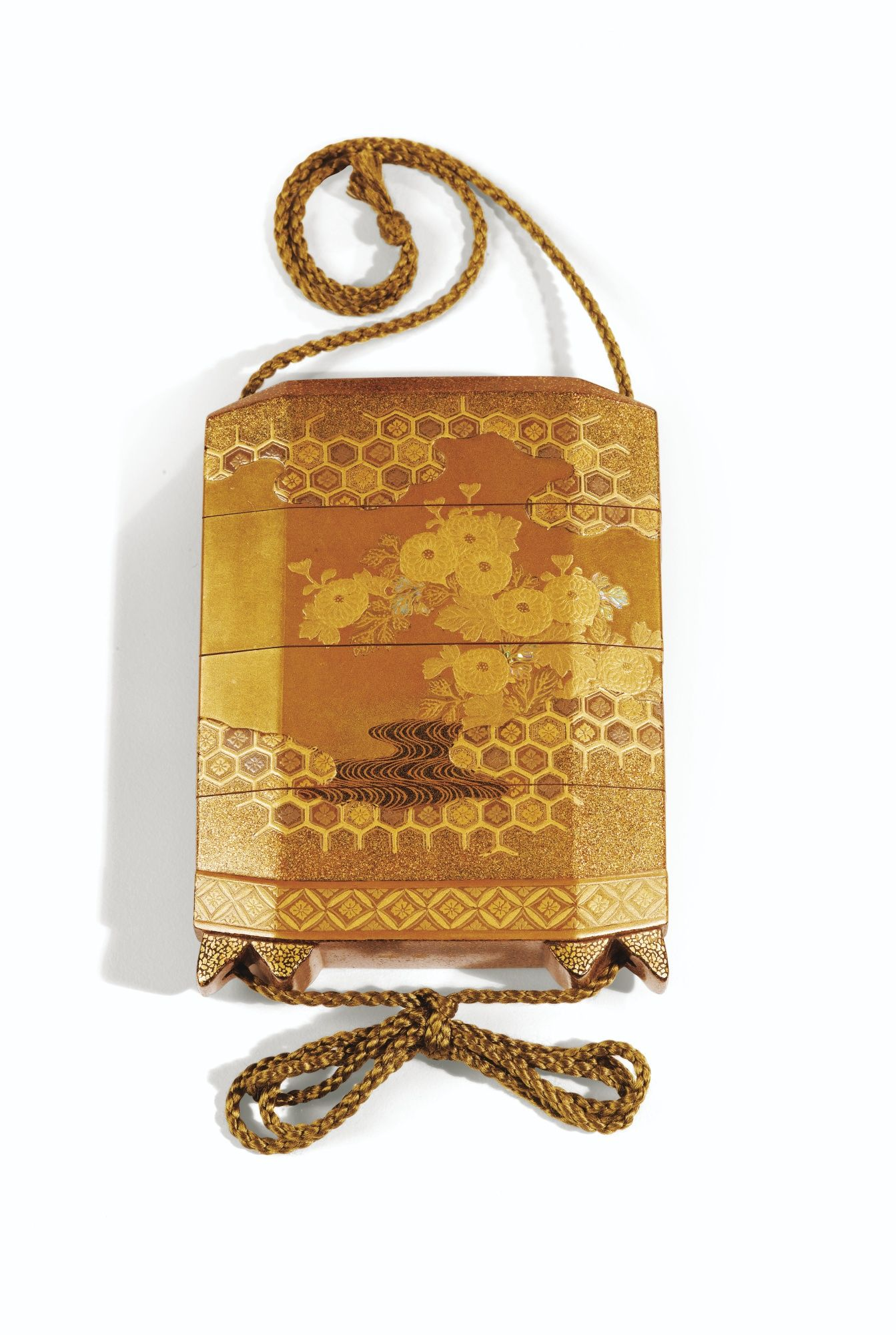 This would go well with the bee ring and earrings. A THREE-CASE GOLD-LACQUER INRO SIGNED YOYUSAI, JAPAN, CIRCA 1850