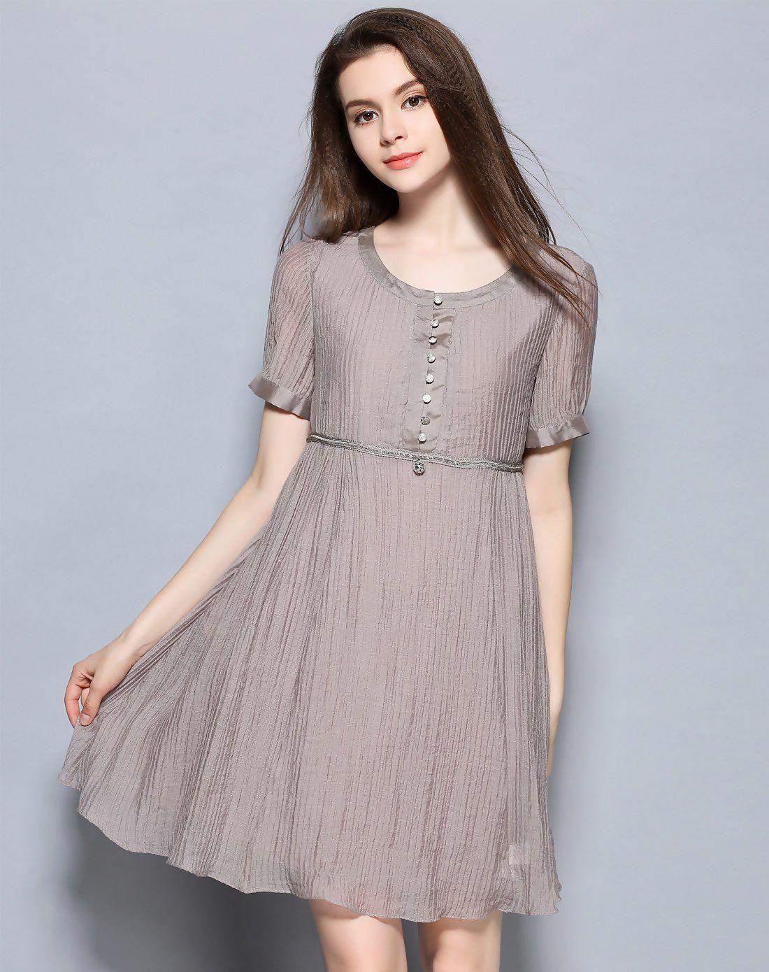 b08fce3d68234 Coffee Round Neck Short Sleeve Short Women's A Line Dress