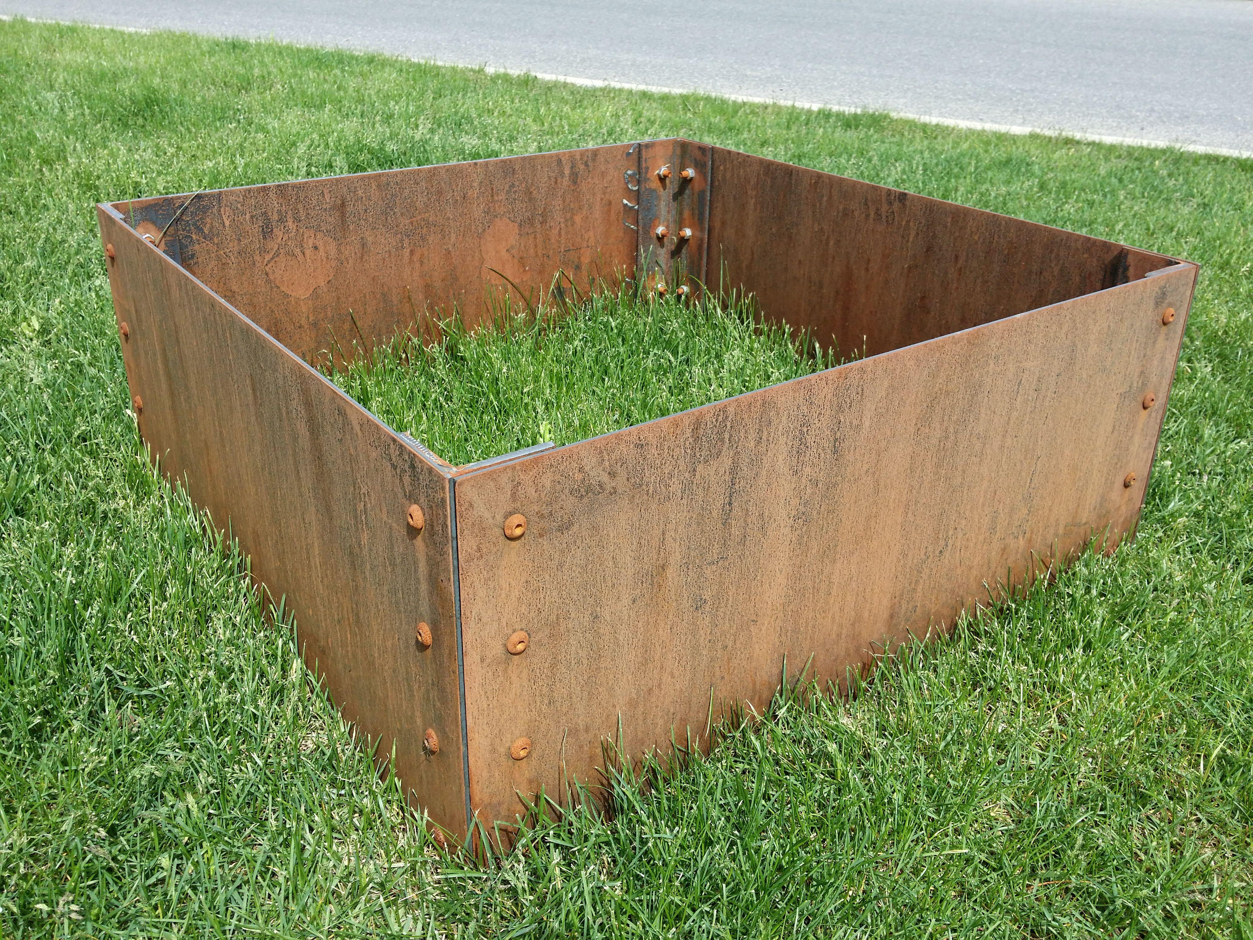 Small Corten Steel Planter Box With Rusty Patina Metal