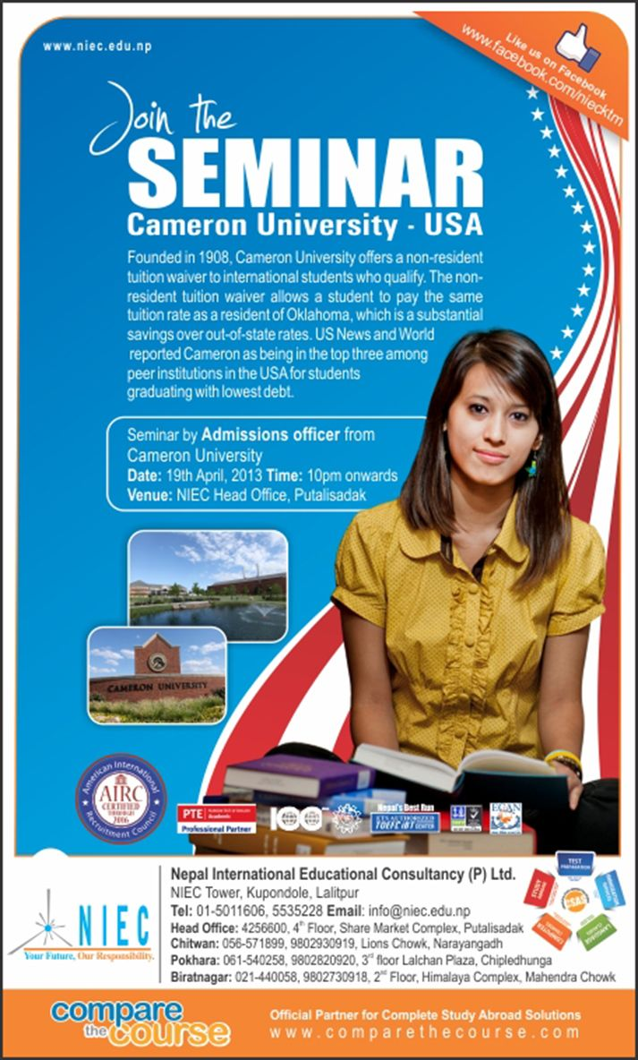 Print Ad Design For Usa Seminar  Advertisment For Niec