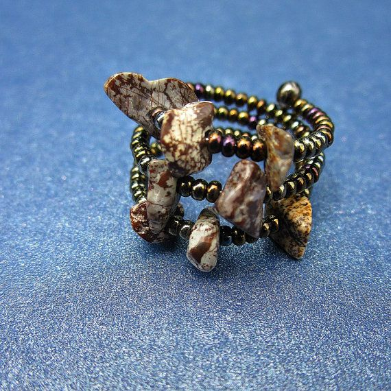 Beaded Adjustable Size 7, 8 Memory Wire Ring with Jasper Stone Chips ...