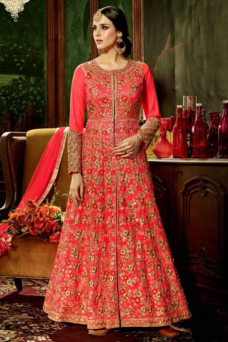 Indo western wedding dress for women  Pink u Gold Floral Embroidered ALine Floor Length Beautiful