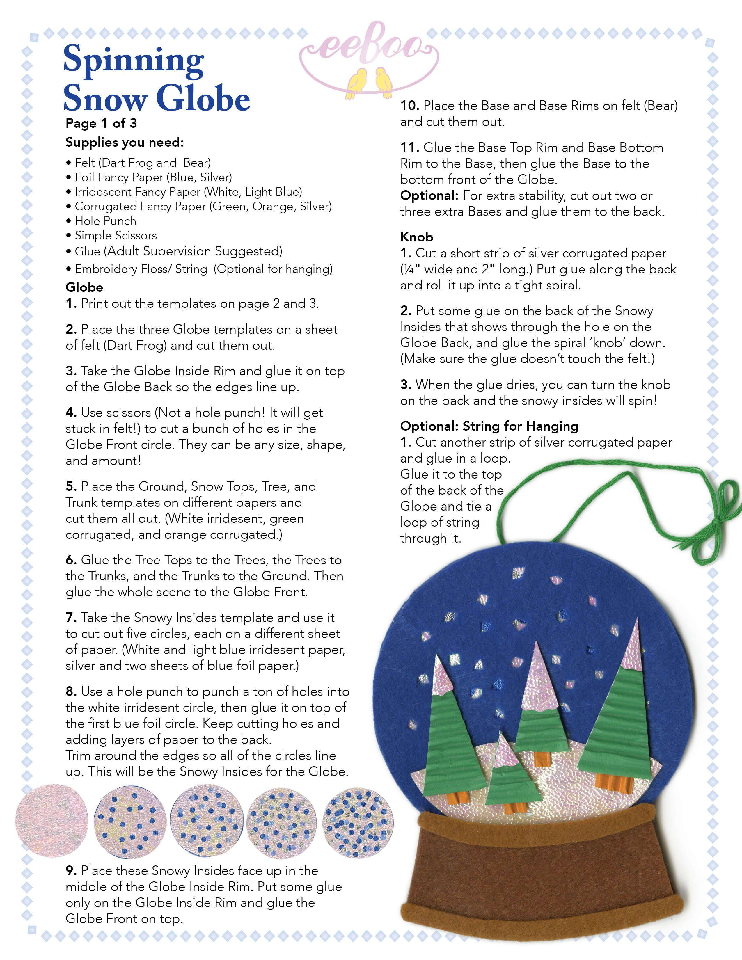 eeboo craft project oct13 snowglobe holiday craft ideas