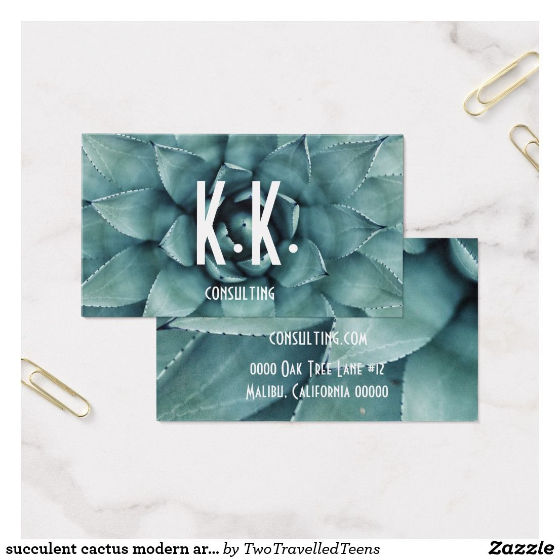 Succulent cactus modern artsy grunge business card | Business cards
