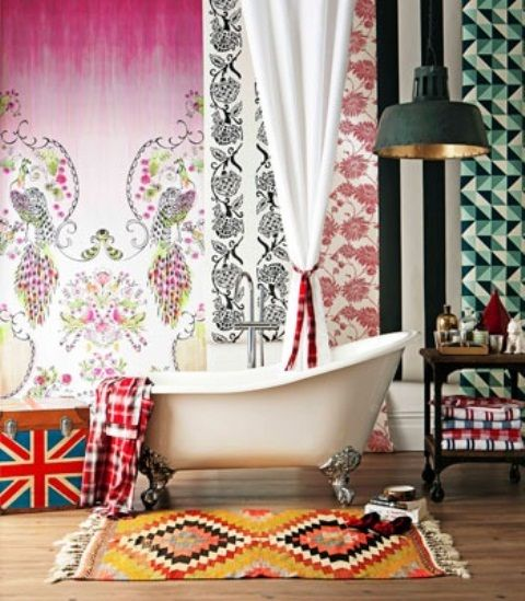 Awesome 36 Bright Bohemian Bathroom Design Ideas With White Bathtub Pink Curtain Yellow Carpet Towel Chandelier