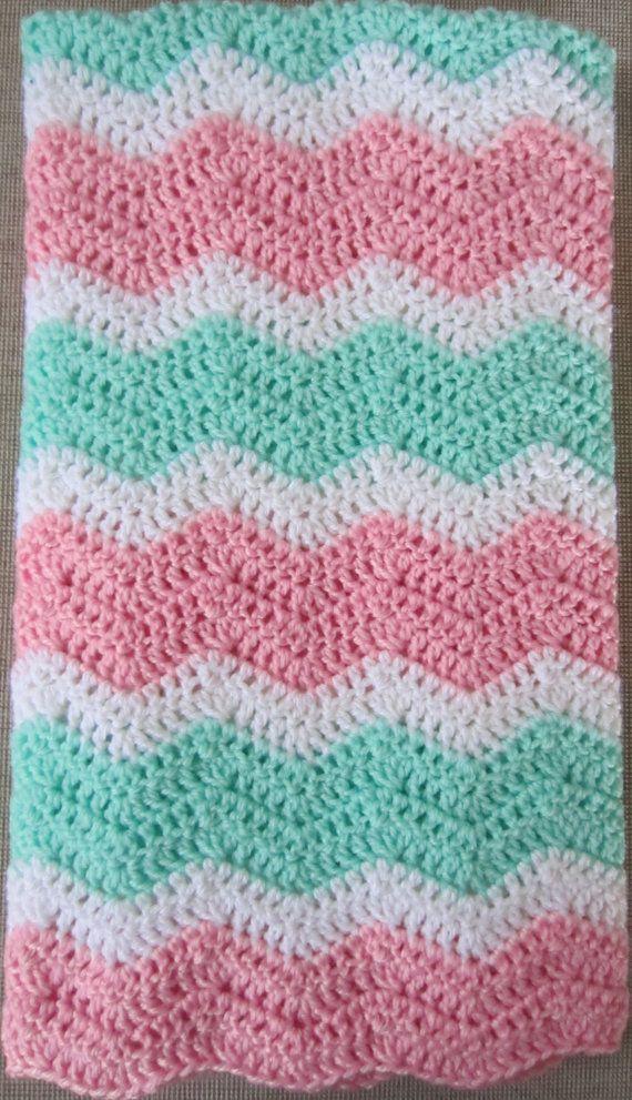 Chevron Zig Zag Ripple Baby Blanket Afghan in by heyjude6459, $35.00 ...