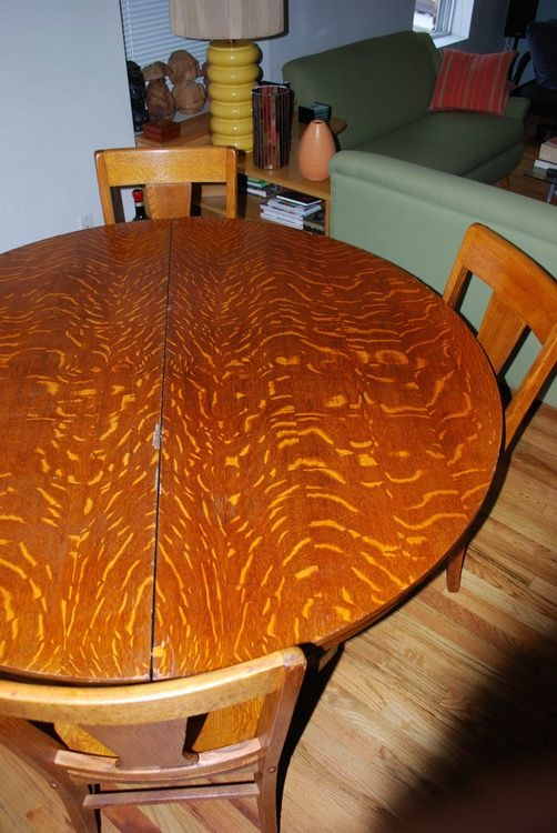 Stupendous Dining Table 4 Chairs Round Oak 1918 Tiger Oak Top Table Creativecarmelina Interior Chair Design Creativecarmelinacom