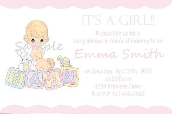 Precious Moments Baby Shower Girl Invitation By Sivcreations Baby