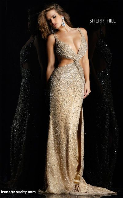 Sherri Hill Gold Sexy Open Sequin Prom Dress 2582 at frenchnovelty ...