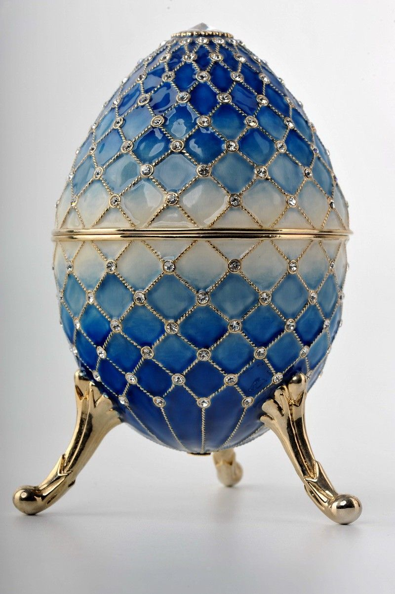 Big blue Egg Trinket Box by Keren Kopal Faberge Egg Swarovski Crystal Jewelry