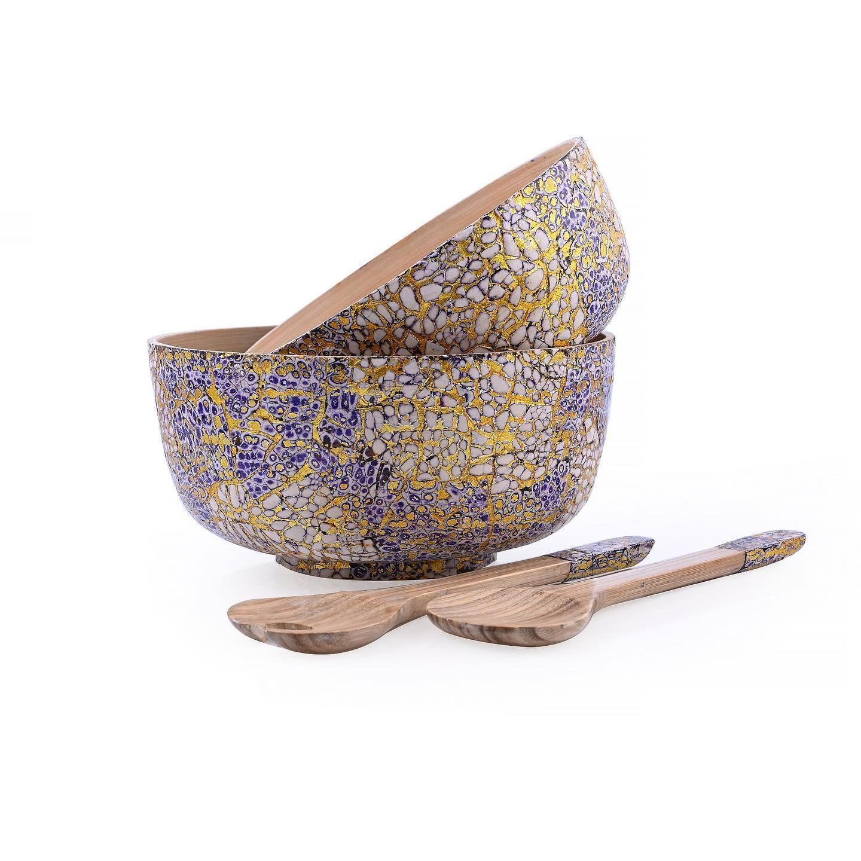 سلطانية مميزة من خشب البامبو الطبيعي عالي الجودة مزينه بطبقة خارجية من الصدف المشغول يدوي ا باللون البنفسجي و المموج باللون ال Decorative Bowls Home Home Decor