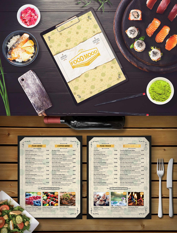 Free Food Mood Cafe Psd Menu Template Menu Card Design Menu