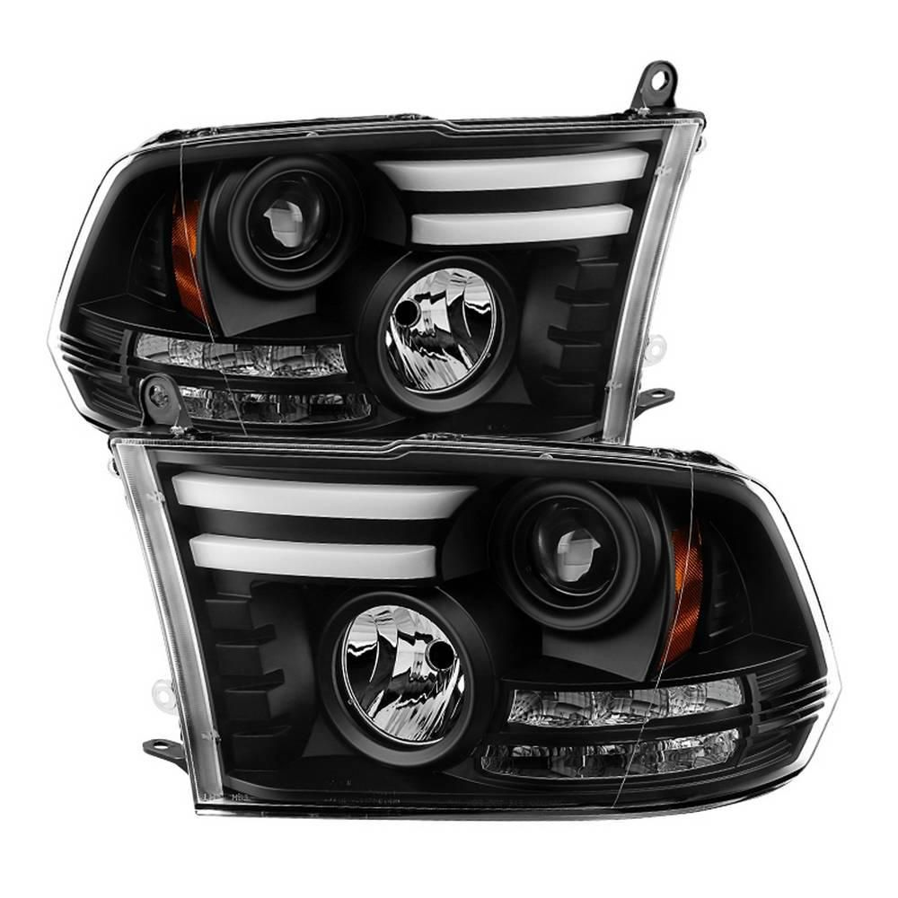 Spyder Auto Dodge Ram 1500 2500 3500 13 16 Projector Headlight Not Compatible On Models W Quad Lamp Headlight Light Bar Drl Black 5080912 The Home Depot In 2020 Dodge Ram 1500 Projector Headlights Ram 1500