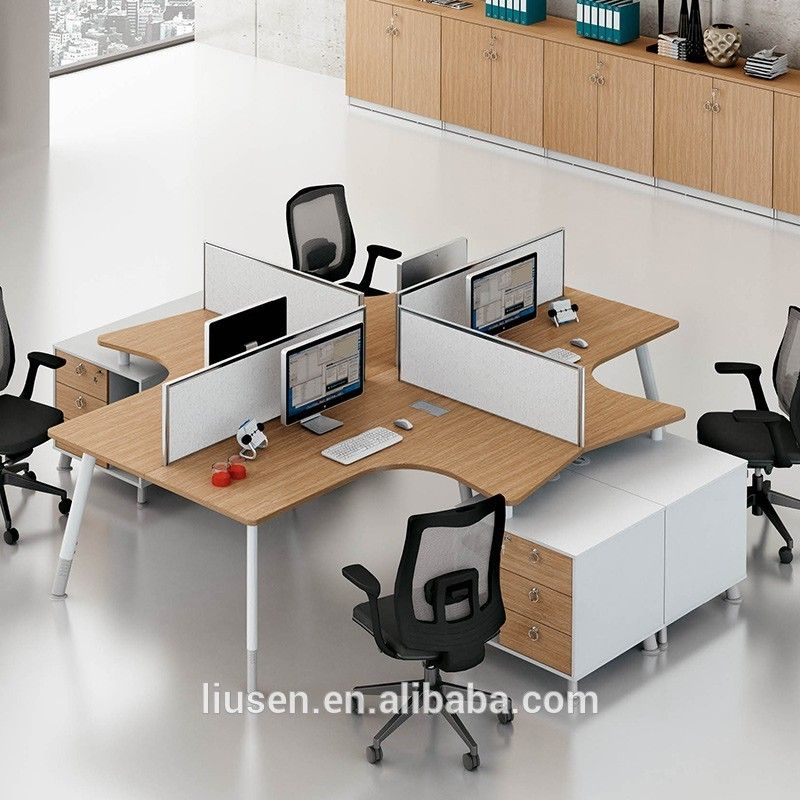 Office Table For 4 Person: Free Sample Commercial Furniture Durable MFC 4 People