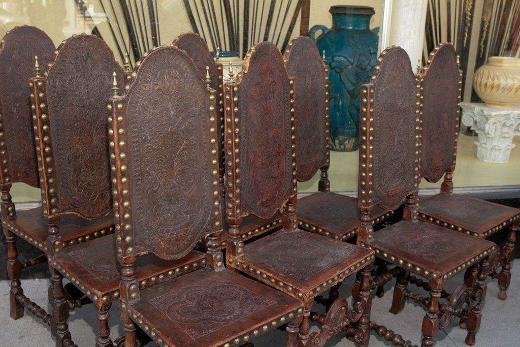 Set Of 8 High Backed Dining Chairs Jacobean Revival Style In Walnut