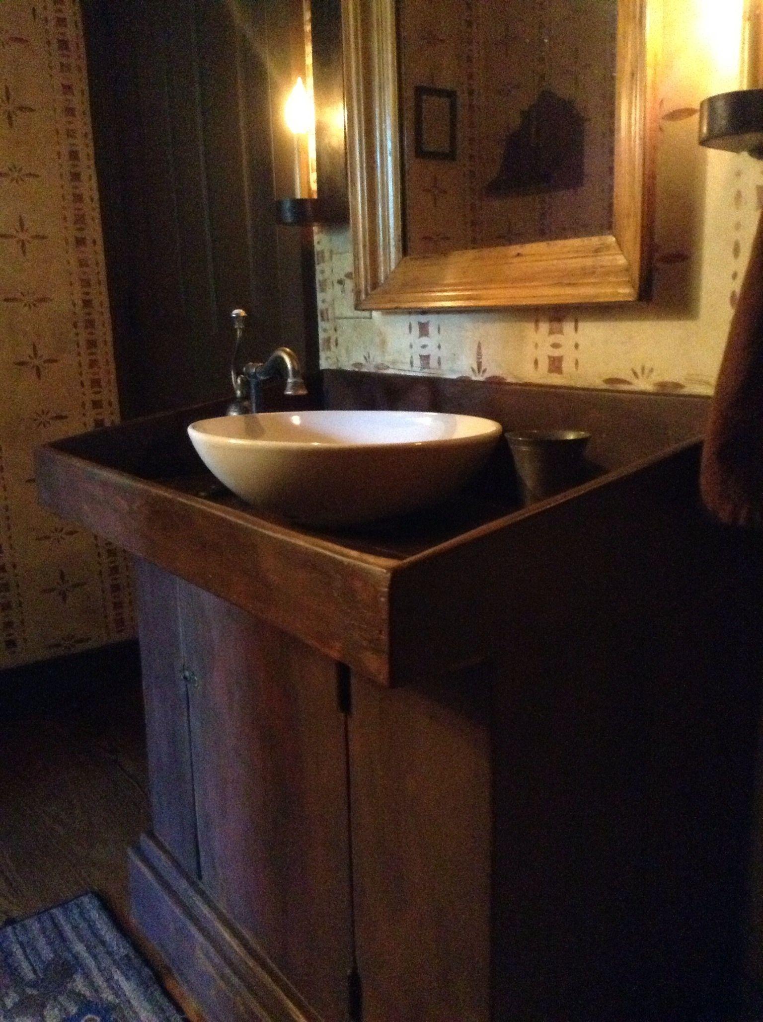 Dry Sink Turned Into A Beautiful Bathroom Vanity Primitive Bathroom Decor Primitive Country Bathrooms Primitive Bathrooms