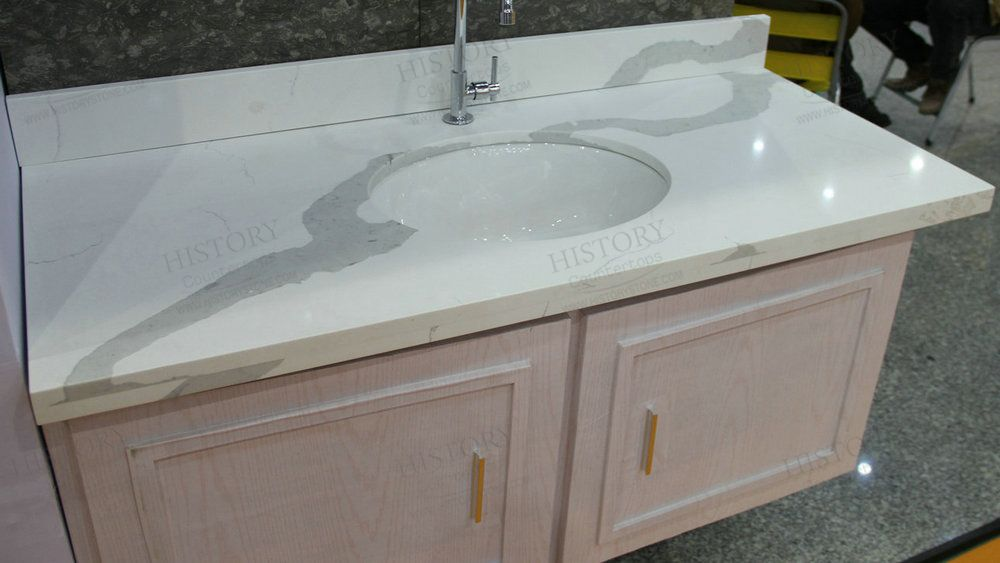 Best Calacatta White Quartz Bathroom Countertop
