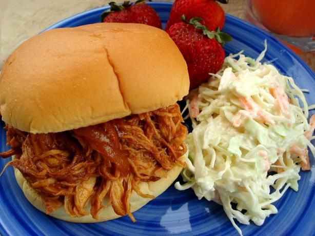 Easy BBQ Chicken Sandwiches (Crock Pot). These are really easy. I use Sweet Baby Ray's BBQ Sauce, but you can use any brand. I use about 3/4 of an onion so it's not overpowering, and I JUST use enough sauce to cover the chicken - otherwise, it can be too soggy. I haven't ever cooked it longer than 6 hours. At about three hours, I shred the chicken to make sure it picks up the flavor of the sauce. Overall, easy and really good!