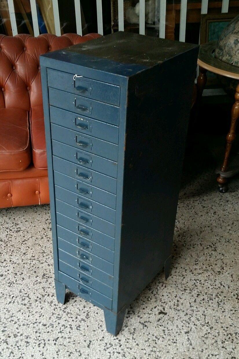 Vintage metal industrial 15 drawer filing cabinet - multi drawer ...