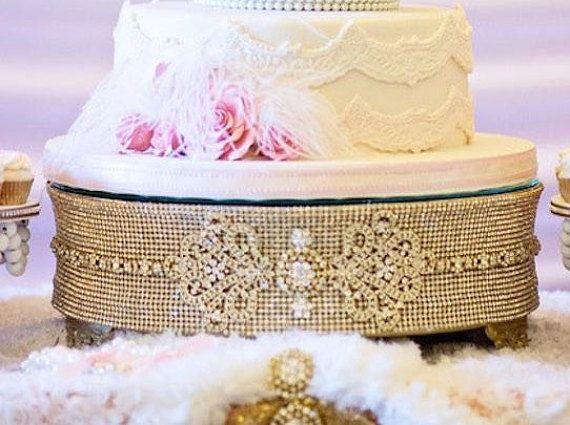 14 ROUND GOLD Rhinestone Cake Stand Wedding decoration