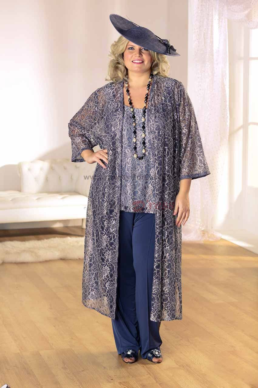 82c96edd3be Plus Size Three Piece mother of the bride Wedding Party pants suit Trousers  With Lace Jacket nmo-066