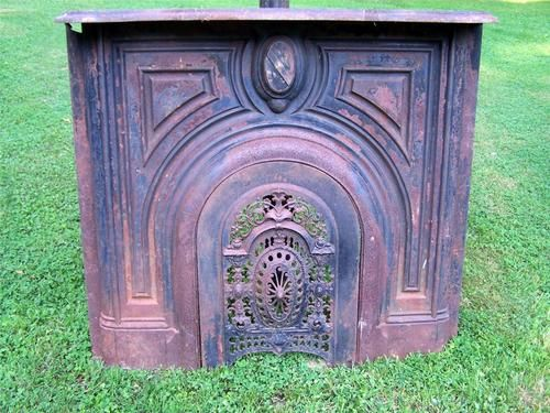 Antique 1830 Cast Iron Fireplace Mantel With Ornate Summer Cover