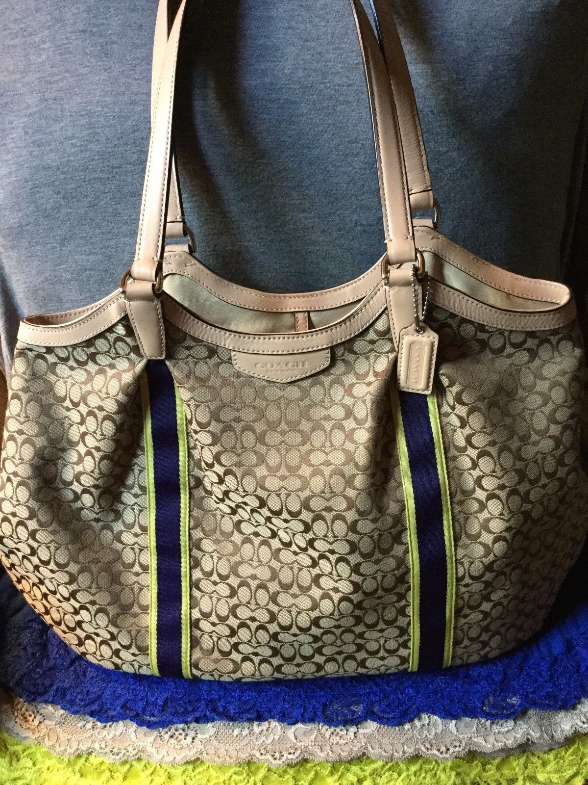 SALE $167 #Coach Khaki, Navy & Yellow Canvas SIG Leather Trim Hobo Dog Leash Tote