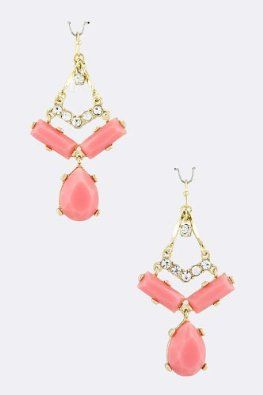 Amazon.com: Acrylic Pink Dew Jewel Triangle Dangle Earrings with Gold Accent - Crystal Triangle Drop Gold Earrings: Jewelry