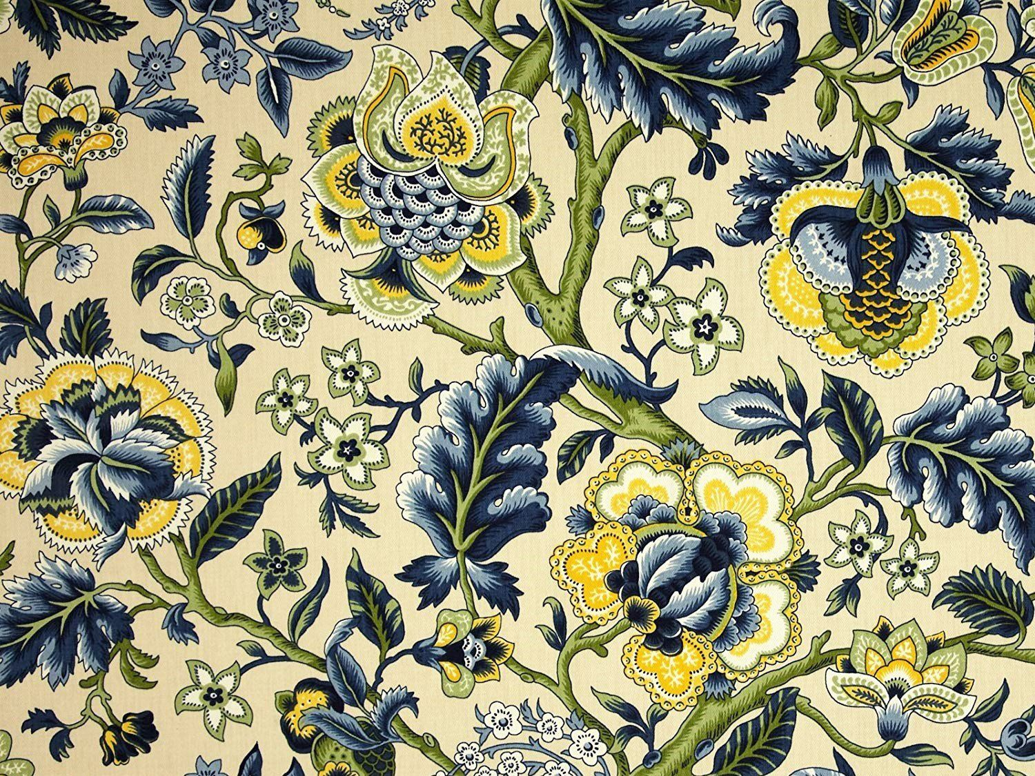 Waverly Fabric  Happy Hour  Cotton  White Red Gold Green Blue Drapery Upholstery
